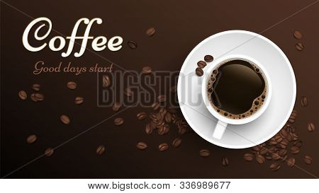 Coffee Top View Cup. Realistic Cup And Coffee Beans Banner Template. Vector Roasted Beans Background