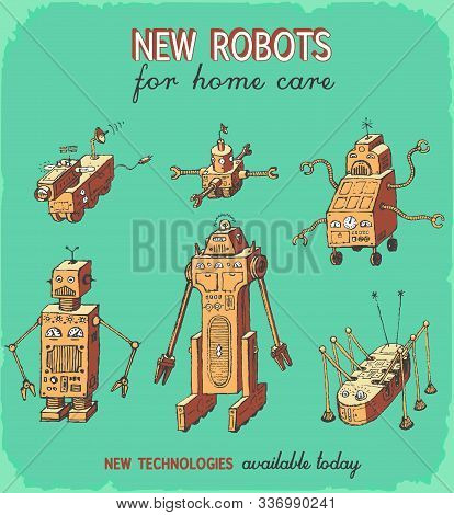 Retro Robots Vector Hand Drawing Set Animation 1950-60 Style Color