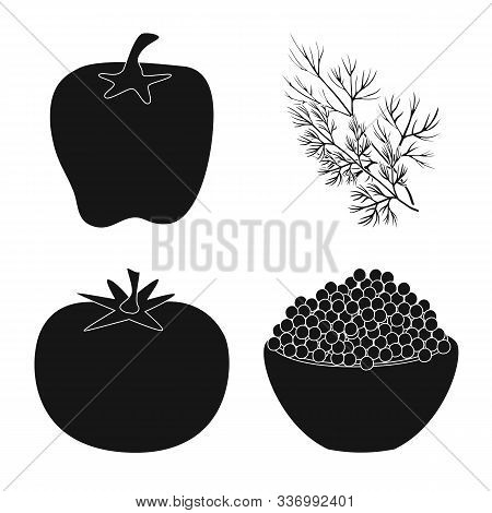 Vector Illustration Of Organic And Cooking Sign. Set Of Organic And Flavors Stock Symbol For Web.
