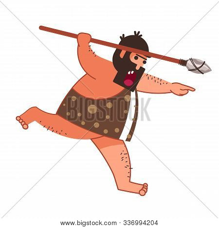 Caveman Hunting And Making Fire, Primitive Man With Weapon