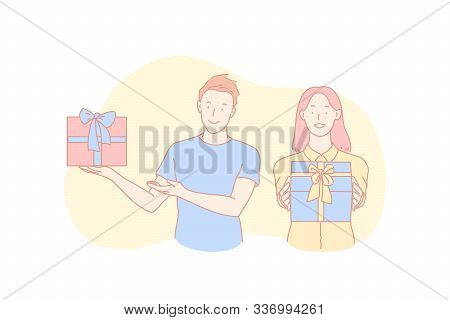 Birthday Congratulation, Holiday Tradition, Christmas Celebration Concept. Cheerful Young Man And Wo