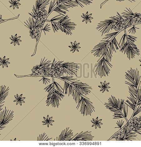Elegant Hand Drawn Christmas Seamless Pattern With Pine Cones, Pine Tree Branches And Star Anise. Wi