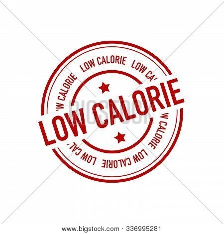Red Low-calorie Rubber Vector Stamp On White Background