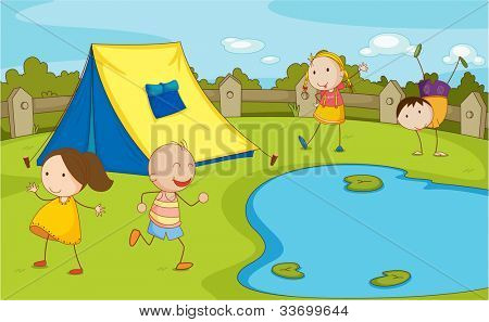 Illustration of group of camping kids - EPS VECTOR format also available in my portfolio.
