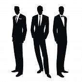 Silhouettes of three men in the retro style of the 50s or 60s isolated on white background poster