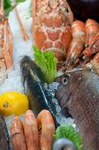 Fresh seafood arrangement displayed in market in Chania, Crete poster