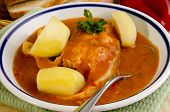 Hungarian fish soup with potato in a bowl poster