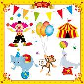 Fun Circus Set. fun circus icons for you poster
