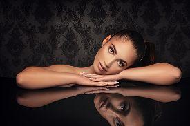 Beautiful Face Of Attractive Elegant Model.