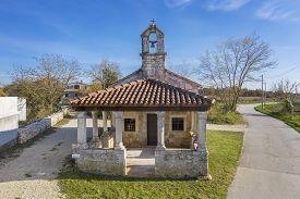 An Aerial Shot Of Church Of St. Catherine Of Alexandria In Svetvincenat, Istria, Croatia
