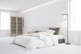 White Bedroom Corner With Single Bed And Wardrobe