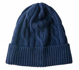 Knitted Blue Hat Isolated On A White Background. Stylish Hat Top Front View. Fashion Accessory For C