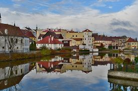 Houses In The Historical Part, Town Jindrichuv Hradec, Southern Bohemia, Czech Republic