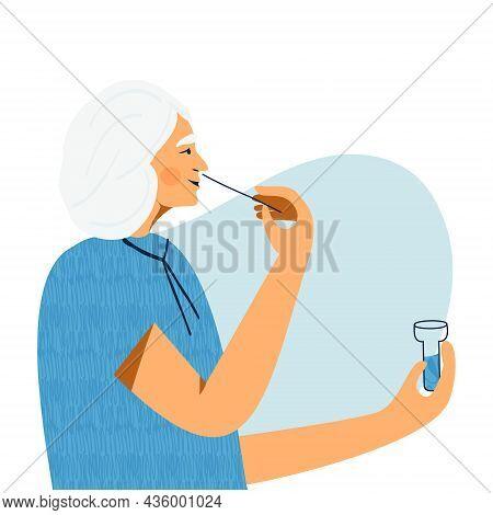 Covid Nasal Pcr Swab Rapid Self Test. Senior Woman Using Antigen Test Kit With Self-administered Swa