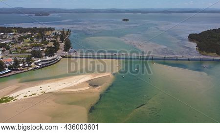 An Aerial Midday Shot Of The Entrance Bridge On The Nsw Central Coast