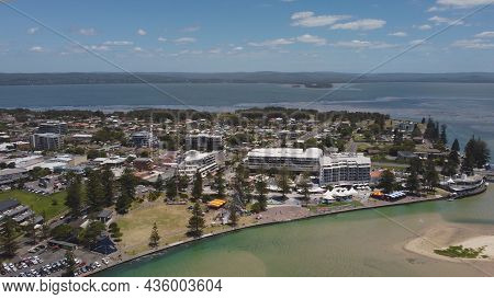 An Aerial Shot Of The Entrance On The Nsw Central Coast On A Summer Midday