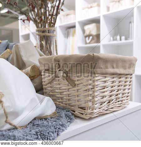 Organization Of Home Space, Order, Cleanliness And Comfort. Household Goods Storage Equipment. Wicke