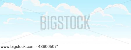 Sky Background Vector. Illustration In Cartoon Style Flat Design. Heavenly Atmosphere.