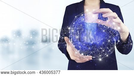 Global Database And Artificial Intelligence. Two Hand Holding Virtual Holographic Artificial Intelli