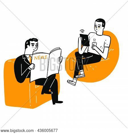 Communication Business Concept, Elderly Man Reading Newspaper News And Young Man Sitting On Sofa Rea