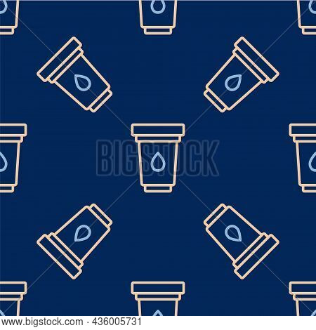 Line Water Filter Cartridge Icon Isolated Seamless Pattern On Blue Background. Vector