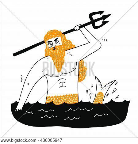 Sea God Poseidon Neptune Suitable For Icons, Vector Illustration Hand Drawn