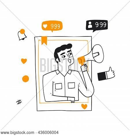 Social Media Networking Concept. Man With Megaphone At Smartphone Screen, Broadcasting, Streaming Vi