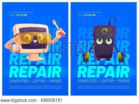Gadgets Repair Service Cartoon Ad Posters, Computer And Smartphone Characters, Cute Pc Desktop In Pr