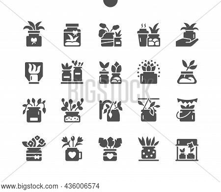 Plant In Jars. Flower In Pot. Garden And Home Decoration. Plant, Leaf, Nature. Vector Solid Icons. S