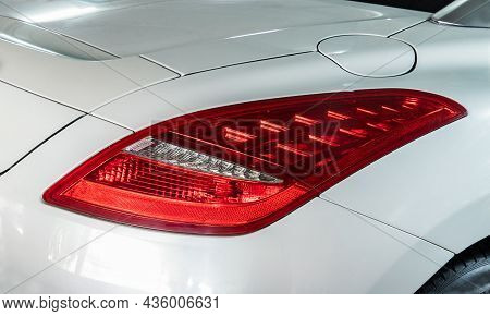 Bangkok, Thailand - 31 Aug 2021 : Close-up Of Rear Light Or Tail Lamp Of White Peugeot Rcz Sports Ca