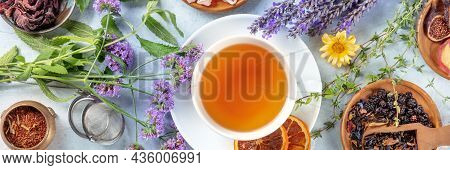 Tea Panorama With Herbs, Flowers And Fruit, An Overhead Flat Lay Shot. Healthy Hot Drink Panoramic B
