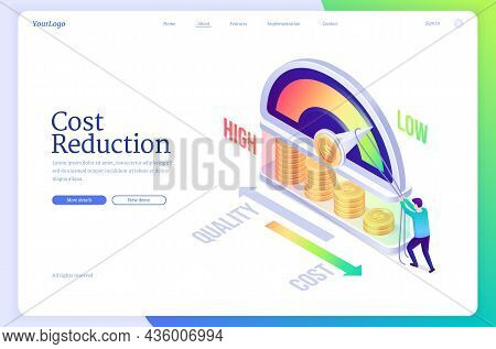 Cost Reduction Isometric Landing Page, Business Concept Of Optimization Financial And Marketing Stra