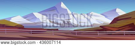 Mountain Landscape With Lake, Trees On Coast And Car Road With Metal Barrier. Vector Cartoon Illustr