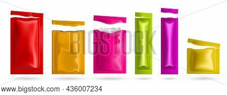 Colored Sachets With Wet Wipes. Vector Realistic Mockup Of 3d Blank Foil Packages With Facial Napkin
