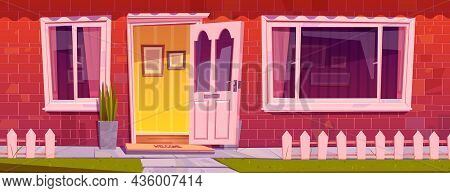 House Front With Red Brick Wall, Windows, Open Door And Plants In Pot. Vector Cartoon Illustration O