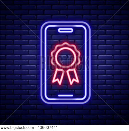 Glowing Neon Line Online Education With Diploma Icon Isolated On Brick Wall Background. Diploma Onli