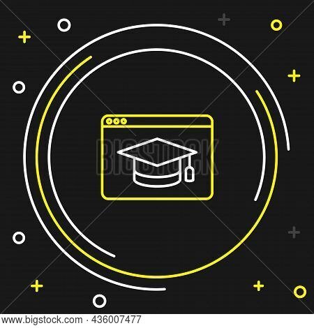 Line Online Education And Graduation Icon Isolated On Black Background. Online Teacher On Monitor. W