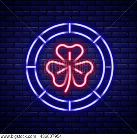 Glowing Neon Line Golden Leprechaun Coin With Clover Trefoil Leaf Icon Isolated On Brick Wall Backgr