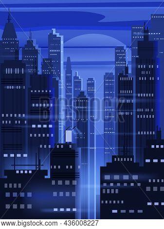 Night Futuristic City Background, Bright Lights, Panorama, Modern Buildings, Midnight. Vector Illust