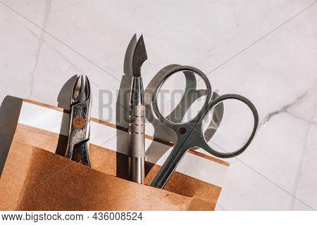 Clean Manicure Instruments. Manicure Set In Paper Heat Dry Bag For Sterilization. Sterilization Of I