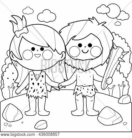 Prehistoric Landscape With Cavemen. Vector Black And White Coloring Page.