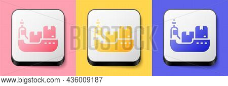 Isometric Cargo Ship With Boxes Delivery Service Icon Isolated On Pink, Yellow And Blue Background.