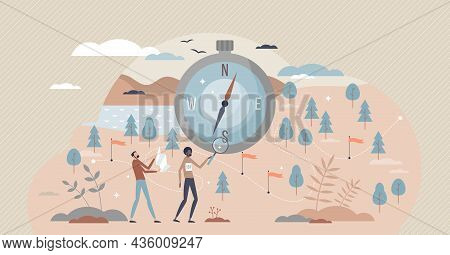 Orienteering Sport With Control Point Searching From Map Tiny Person Concept. Adventure Race Using C