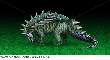 Ankylosaurus Dinosaur In Realistic Style. An Animal Of The Jurassic Period Similar To A Dragon. Vect