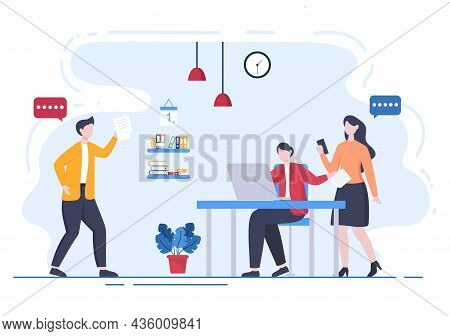 Content Writer Or Journalist Background Vector Illustration For Copy Writing, Research, Development