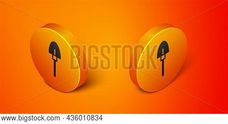 Isometric Shovel Icon Isolated On Orange Background. Gardening Tool. Tool For Horticulture, Agricult