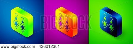 Isometric Earrings Icon Isolated On Blue, Purple And Green Background. Jewelry Accessories. Square B