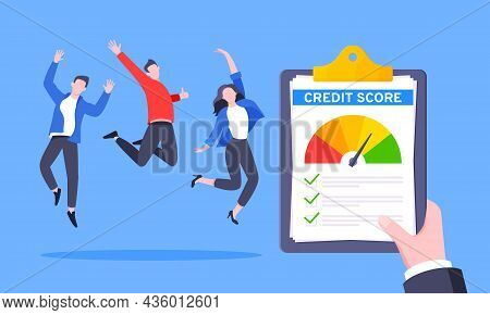 Good Credit Score Business Concept With Clipboard, Score Gauge Meter And Happy People Jumping In The