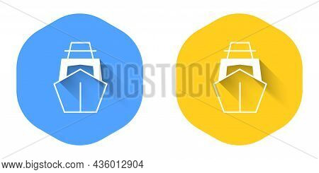 White Yacht Sailboat Or Sailing Ship Icon Isolated With Long Shadow Background. Sail Boat Marine Cru