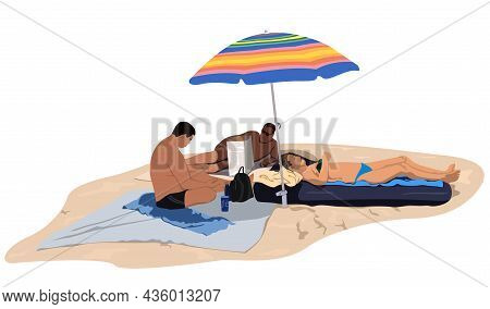 Sunbathing People On The Sandy Beach - Colored Illustration Isolated On White Background, Vector
